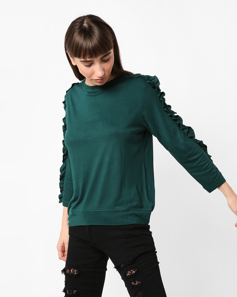 Crew-Neck T-shirt With Ruffled Panels By AJIO ( Darkgreen )