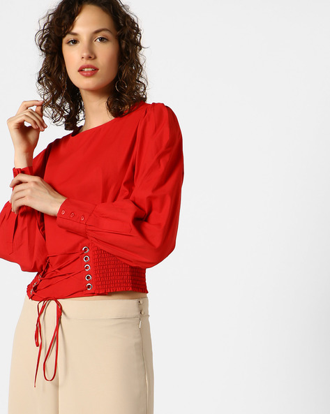 Top With Front Lace-Up By AJIO ( Red )