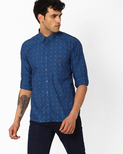 Printed Slim Fit Shirt By CRIMSOUNE CLUB ( Blue ) - 440725451004