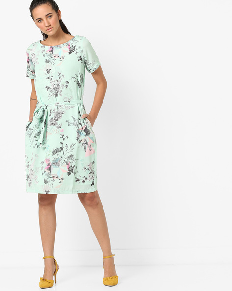 Floral Print A-line Dress By Project Eve WW Casual ( Green )