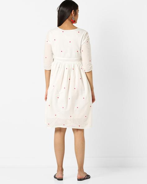 Geometric Print Fit & Flare Dress By AJIO ( White ) - 460127083001
