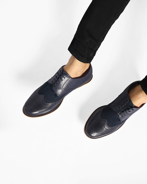 Genuine Leather Lace-Up Shoes With Broguing By Carlton London ( Navy )