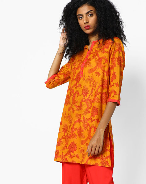 Printed Tunic With Mock Button Placket By AJIO ( Orange )