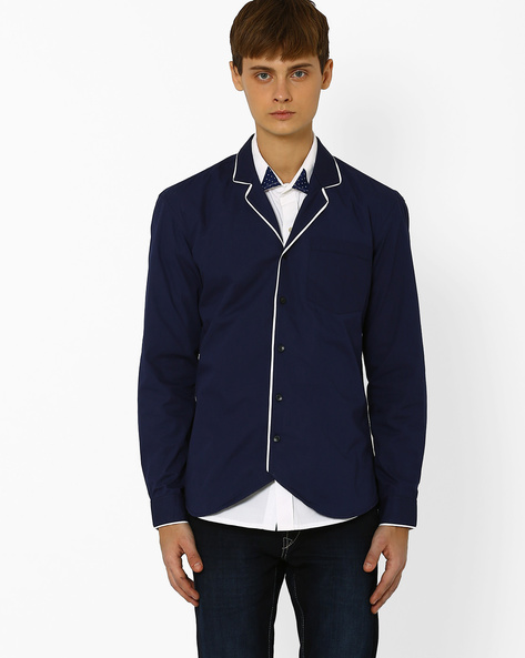 Slim Fit Shirt With Patch Pocket By ANTIFERRO ( Navyblue )