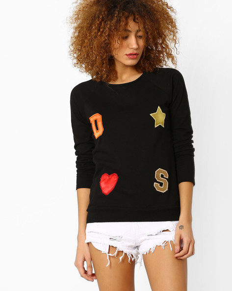 Fleece Sweatshirt With Appliques By Style Quotient By Noi ( Black )