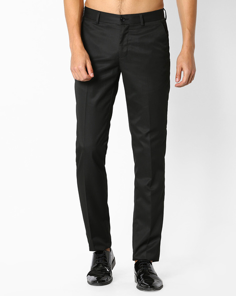 Flat-Front Slim Fit Trousers By NETWORK ( Black ) - 440723700001