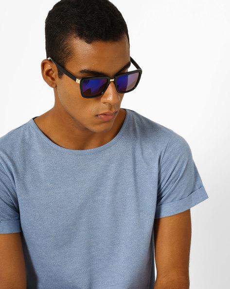 Mirrored Wayfarer Sunglasses By MTV ( Blue )