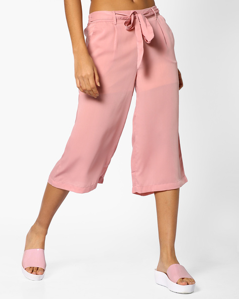 Pleated Culottes With Tie-Up By AJIO ( Lavender )