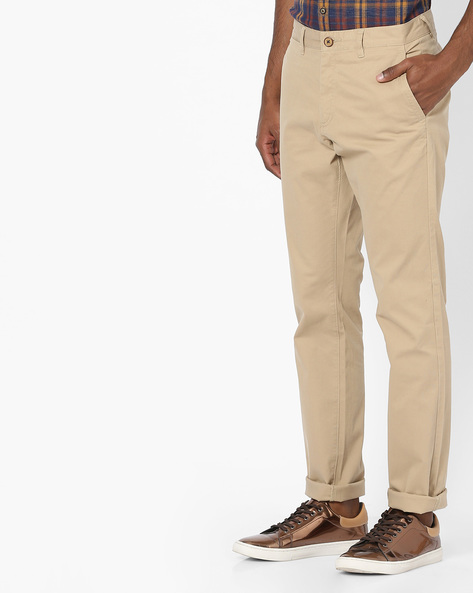 Flat-Front Tapered Chinos By NETPLAY ( Khaki ) - 440807576026
