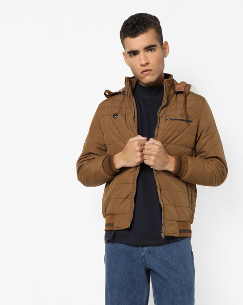 Quilted Jacket With Hood By Fort Collins ( Tan )