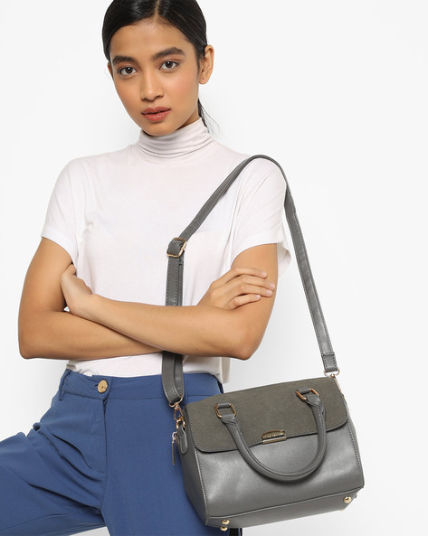 Satchel Bag With Detachable Sling By Lino Perros ( Grey )