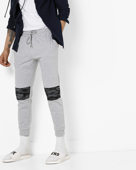 Mid-Rise Joggers With Camo Panel By AJIO ( Grey )