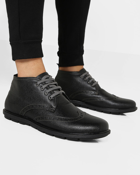Mid-Rise Casual Shoes With Broguing By DUKE ( Black )
