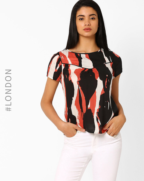 Printed Panelled Top By Marks & Spencer ( Black )