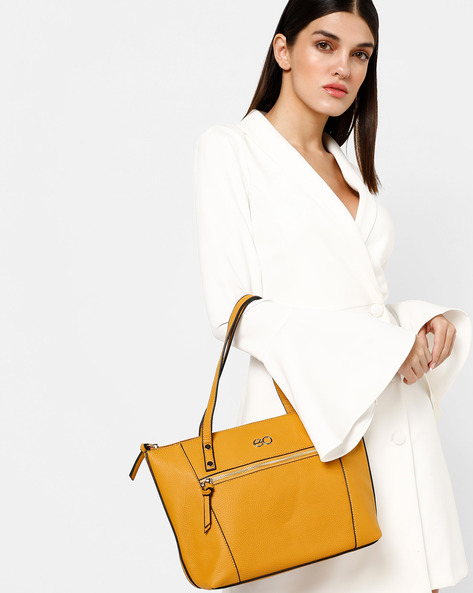 Textured Tote With Zip Closure By E2O ( Yellow )