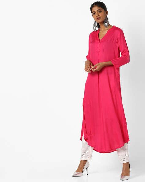 Woven Straight Kurta With Notched Neckline By Global Desi ( Pink )