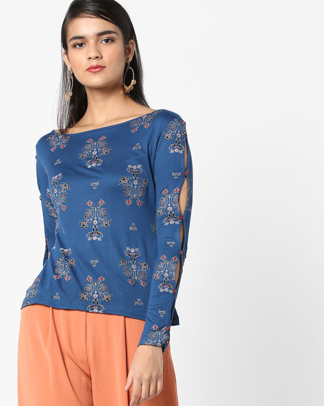 Printed Top With Cutout Sleeves By AJIO ( Navyblue )