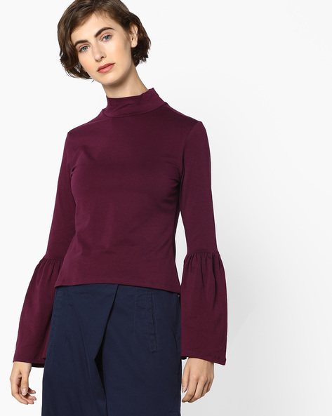 High-Neck Top With Bell Sleeves By AJIO ( Burgundy )