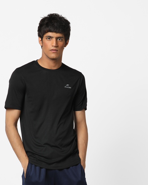 Crew-Neck T-shirt With Signature Branding By ALCIS ( Black )