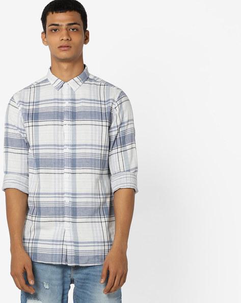 Checked Cotton Shirt By AJIO ( Blue )