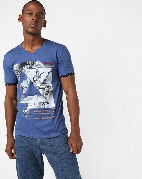 V-neck Graphic Print T-shirt By DUKE ( Navy )