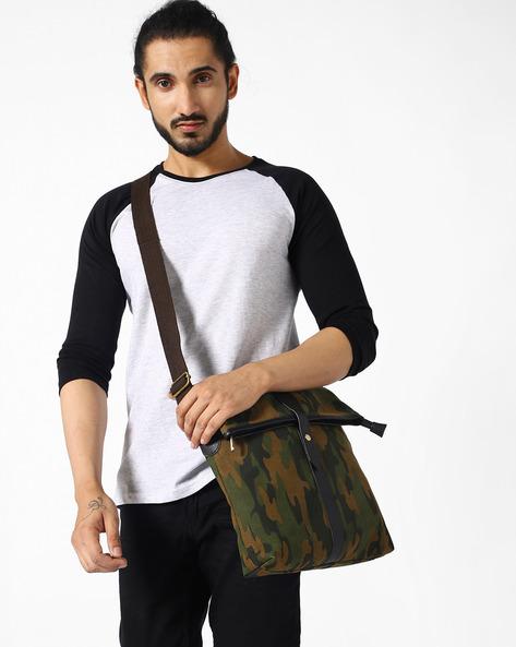 Camouflage Messenger Sling Bag By AJIO ( Olive )