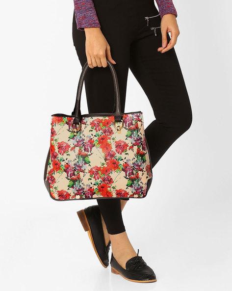 Floral Print Handbag By AJIO ( Beige )
