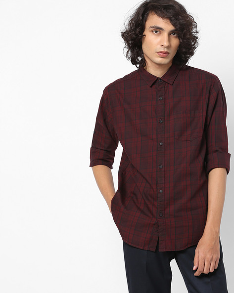 Slim Fit Yarn-Dyed Checked Shirt By Locomotive ( Multi ) - 460147265001