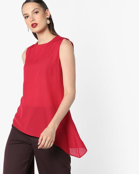 Sleeveless Top With Asymmetric Hemline By AJIO ( Red )