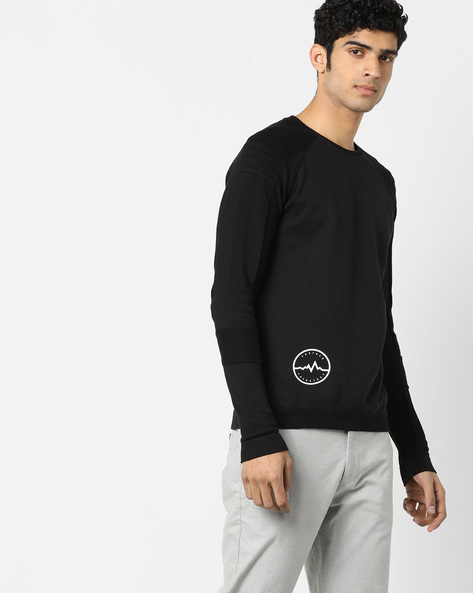 Knitted Pullover With Placement Print By Jack & Jones ( Black )