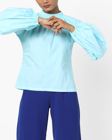 Panelled Top With Raglan Sleeves By AJIO ( Blue )