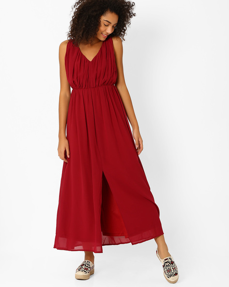 Maxi Dress With Front Slit By Oxolloxo ( Pink )