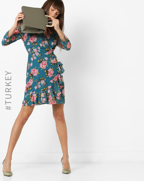Floral Print A-line Dress With Ruffles By TRENDYOL ( Blue )