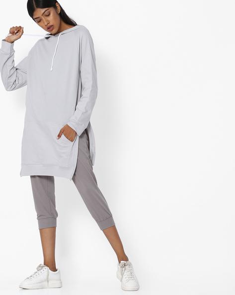 Longline Hooded Sweatshirt With High-Low Hem By Blue Saint ( Grey )
