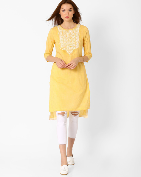 High-Low Kurta With Embroidery By AJIO ( Yellow )