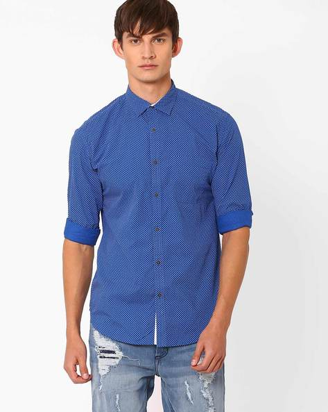 Polka Dot Print Slim Fit Shirt By Nature Casuals ( Blue )