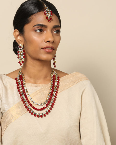 Multi-String Kundan & Bead Necklace Set By Spargz ( Gold )