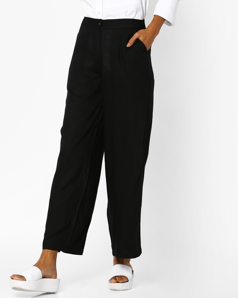 Flat-Front Pants With Slip Pockets By AJIO ( Black )
