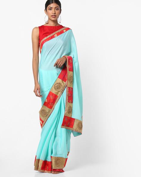Saree With Embellished Border By Vastrangi ( Skyblue )