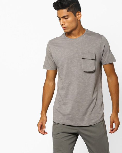 Slim Fit T-shirt With Flap Pocket By AJIO ( Beige )