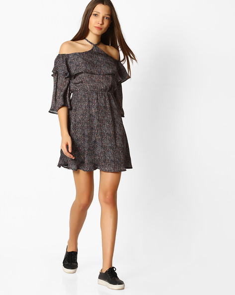 Printed Cold-Shoulder Fit & Flare Dress By Femella ( Multicolor )