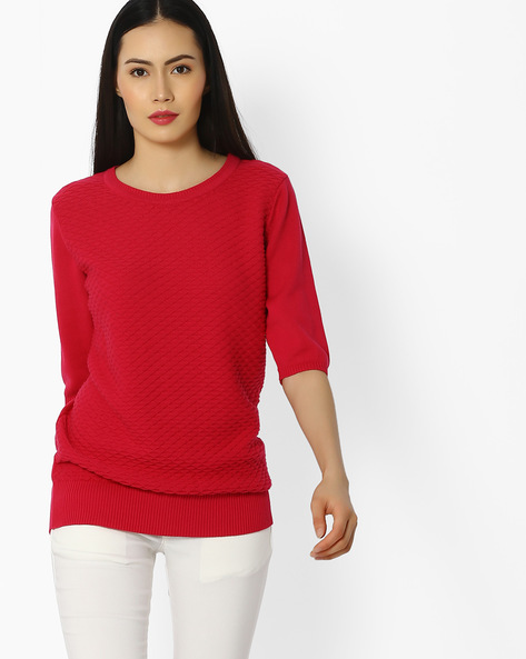 Knitted Cotton Top By FIG ( Pink )