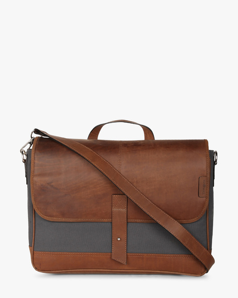 Colourblock Leather Laptop Bag By Tortoise ( Grey )