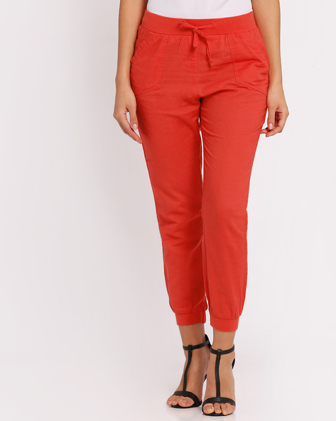 Joggers With Elasticated Waistband By FIG ( Orange )