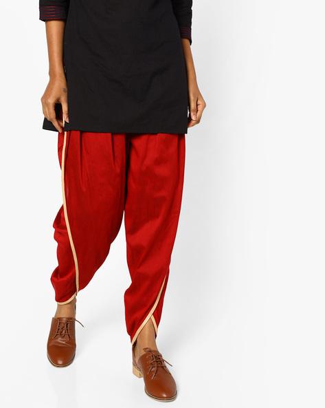 Dhoti Pants With Drawstring Waist By AJIO ( Maroon )