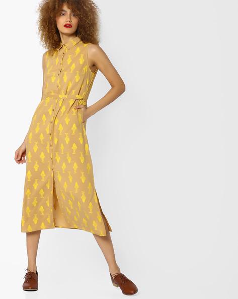 Printed Sleeveless Dress By AJIO ( Beige )