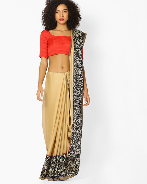 Chiffon Saree With Printed Border By Vastrangi ( Beige )