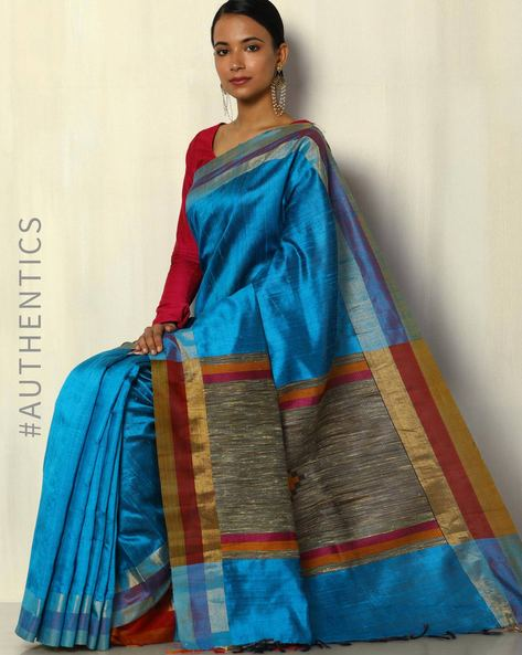 Pure Silk Dupion Handloom Saree By Pretty Woman ( Blue )
