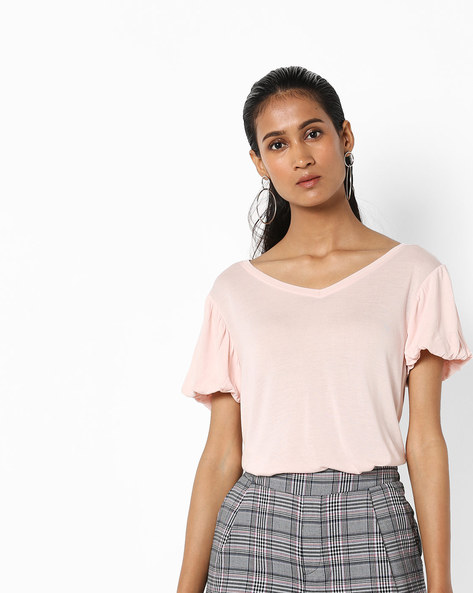 T-shirt With Puffed Sleeves By Vero Moda ( Pink )