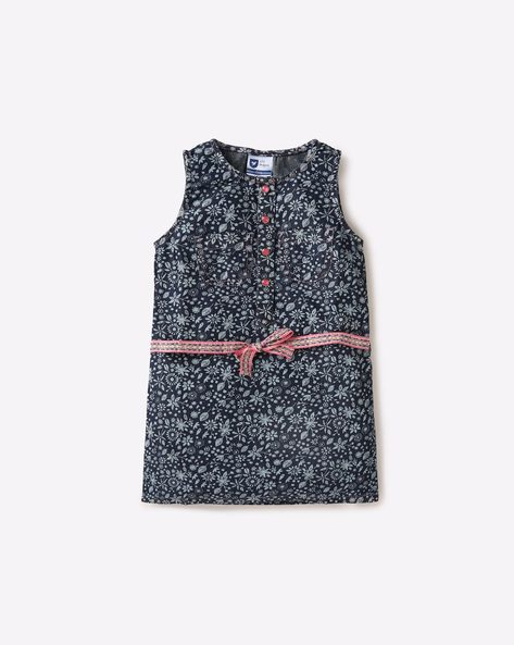Floral Print Shift Dress With Belt By 612 League ( Navy )